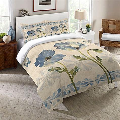 watercolor comforter laural home 174 indigo watercolor poppies comforter in blue