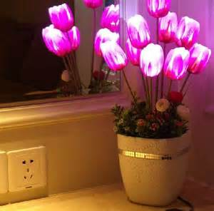tulip artificial silk flower with vase led glow