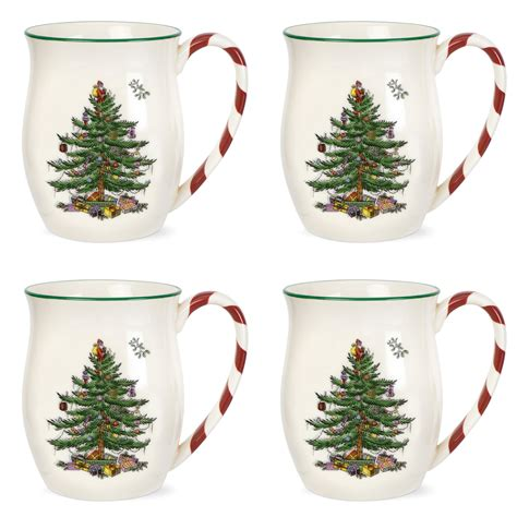 spode christmas tree mugs with peppermint handles set of 4
