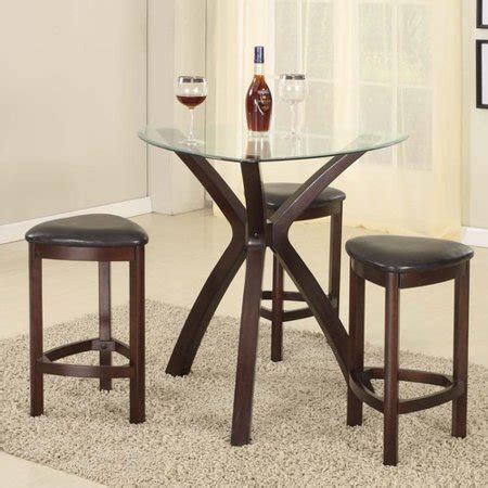 roundhill furniture  piece triangle solid wood bar table
