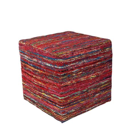 red accent rugs kas rugs contempo red accent pouf pouf80018sq the home depot