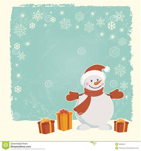 card snowman template retro card with snowman stock vector image