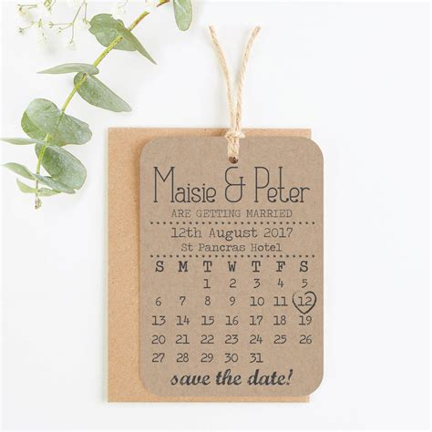 The Date Calendar Card For Bridesmaid Box Free Template by Kraft Calendar Save The Date Wedding Cards By Norma