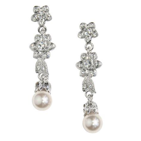 Pearl And Crystal Flower Drop Earrings Bridal Jewellery