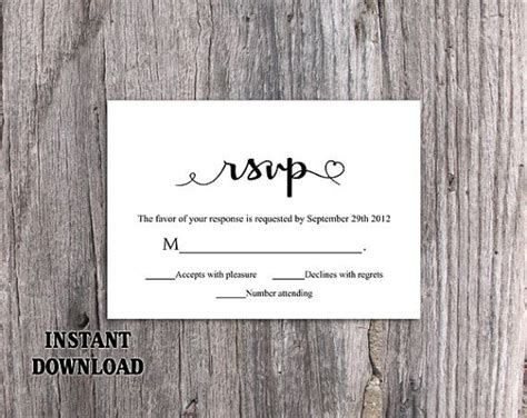 Rsvp By Cards Template by Diy Wedding Rsvp Template Editable Word File Instant