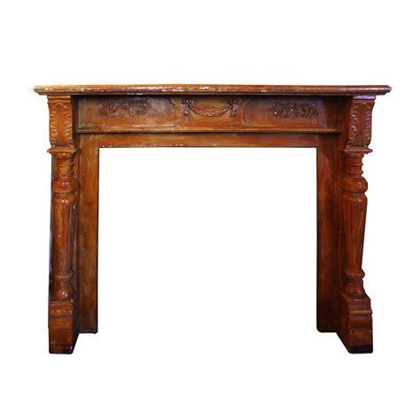 remarkable antique decorative walnut fireplace mantel c