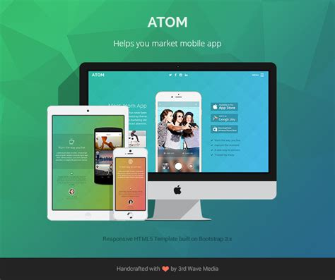 bootstrap templates for mobile app free responsive bootstrap theme for mobile apps atom