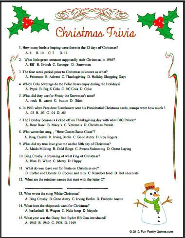 printable christmas games and quizzes the world s largest and most popular trivia website with