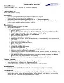 Resume Jobs Descriptions by Cna Job Description For Resume For Seeking Assistant