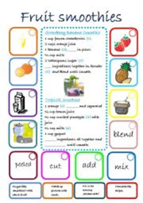 printable smoothie recipe cards english worksheet fruit smoothies recipes