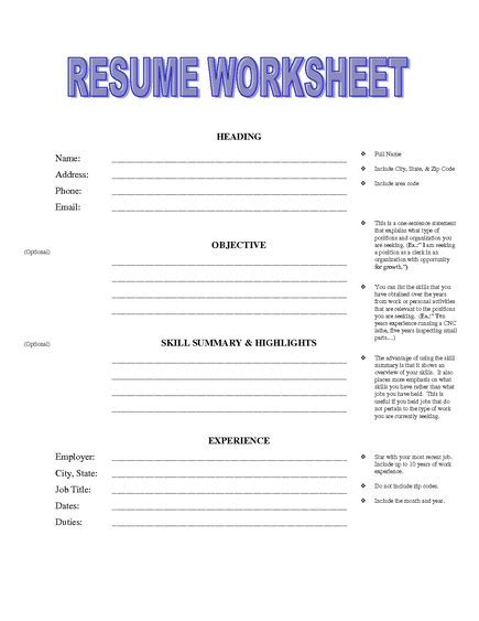 Usa Jobs Resume Help by Sample Resume Format Printable Resume Worksheet