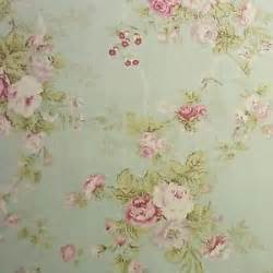 vintage style linen blend fabric rose flowers shabby chic