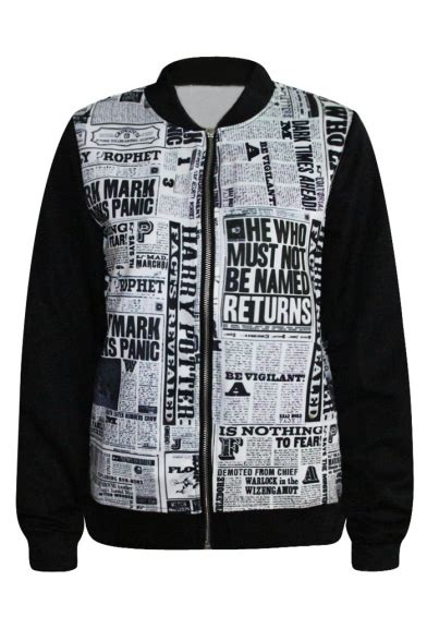 Print Baseball Jacket 3d news paper print baseball jacket beautifulhalo