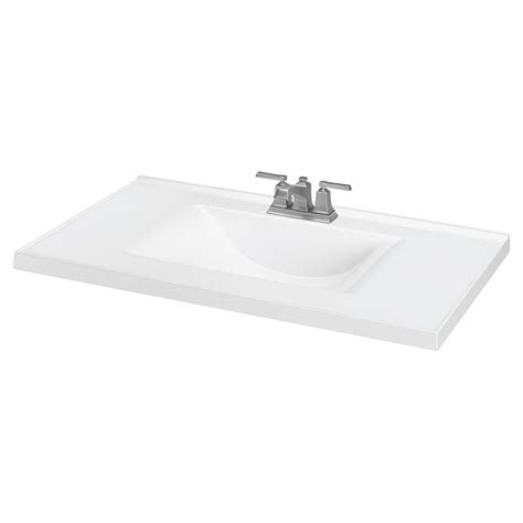 White Marble Vanity Top by 37 In White Cultured Marble Bathroom Vanity Top At Lowes