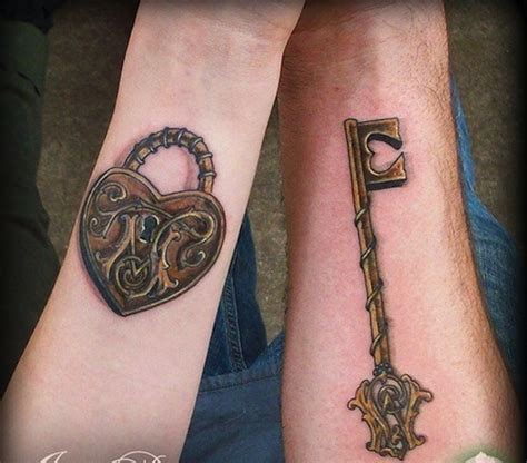 heart and lock tattoos for couples 144 ingenious key tattoos