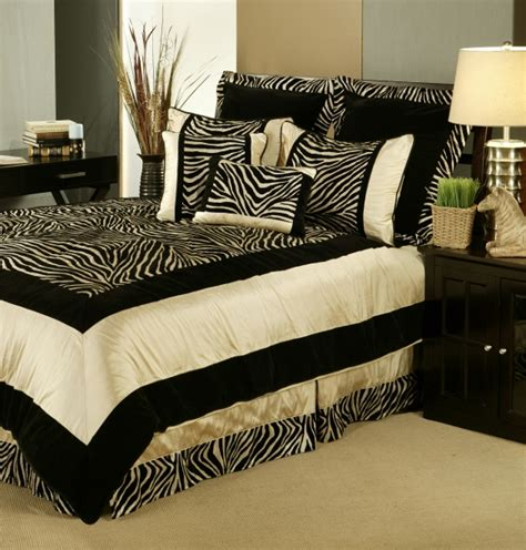 7pc black taupe velvety zebra print comforter set queen ebay