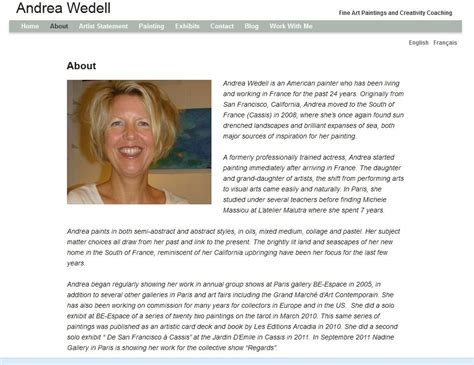 artist bio layout artist about page content wordpress artist websites