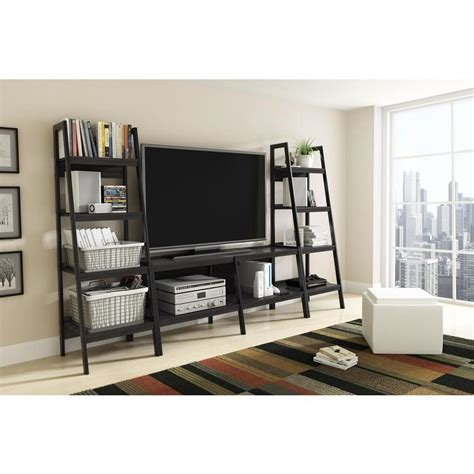Bookcase With Tv Shelf by Altra Furniture Ladder Bundle 4 Shelf Bookcase In Black