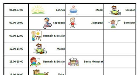 membuat jadwal kegiatan pimpinan menumbuhkan kedisiplinan melalui jadwal harian anak