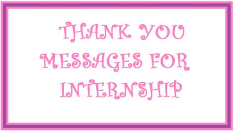 Thank You Messages Internship