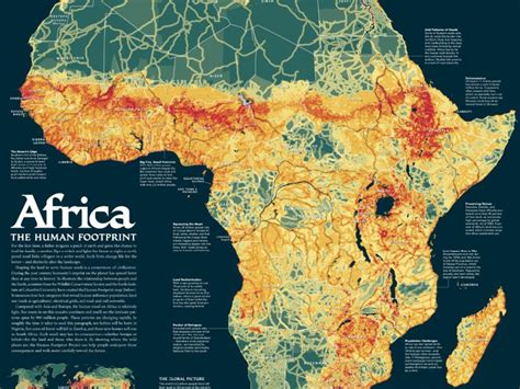 educational map snap africa 2005 africa human footprint map national geographic society