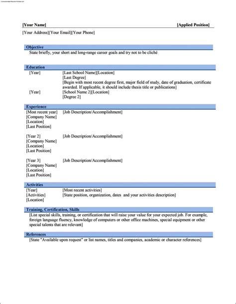 Simple Resume Template Word