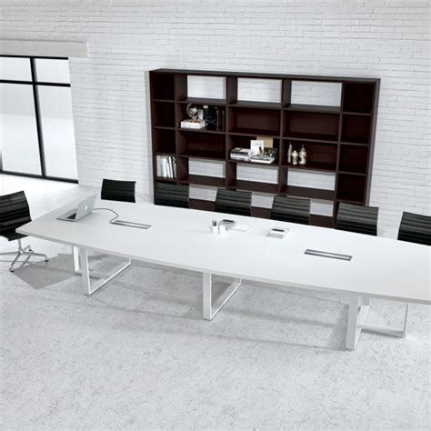 Large White Meeting Table Large White Contemporary Boat Conference Table Ambience Dor 233
