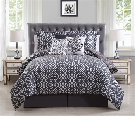 gray and purple comforter 7 piece minka gray purple reversible comforter set