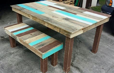 Pallet Dining Table Diy Pallet Dining Table And Bench Set Pallet Furniture Diy
