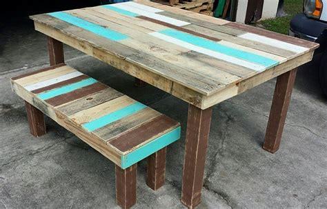 pallet dining table  bench set pallet furniture diy