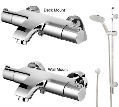 wall mounted bath taps with shower attachment deck wall mounted thermostatic chrome bathroom bath shower mixer tap eco jty004 ebay