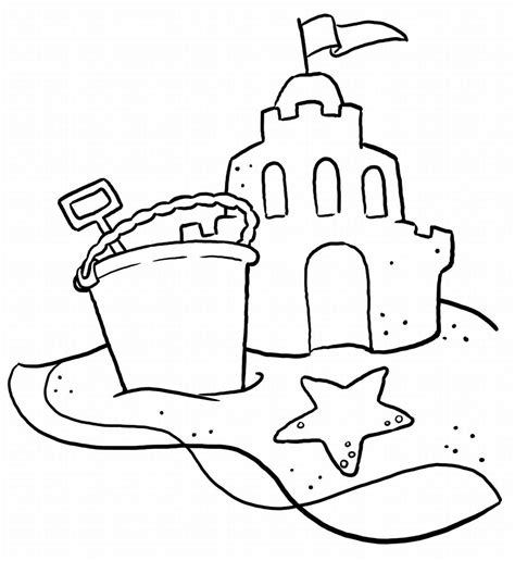summer beach coloring page free large images