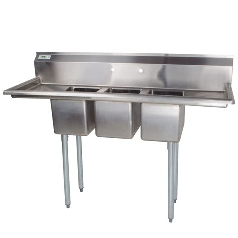 Three Compartment Kitchen Sink 3 Compartment Sink With 2 Drainboards Regency 16 Three Compartment Stainless Steel