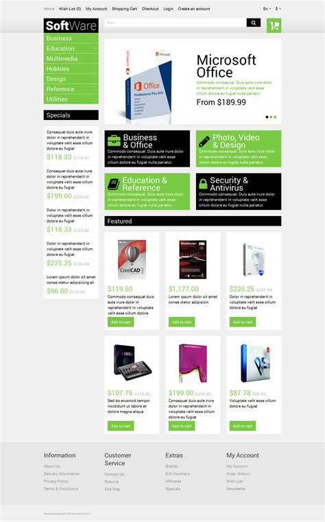 free template opencart software store opencart template 51288