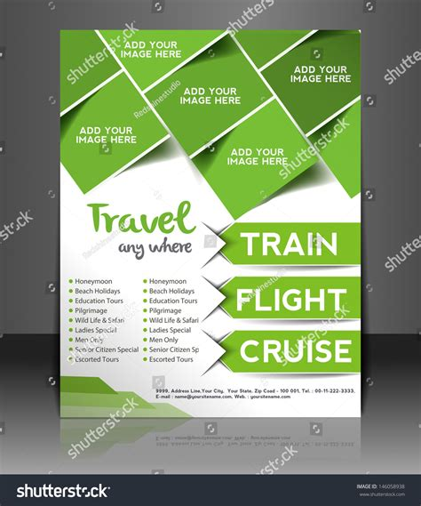 advertising magazine template vector travel brochure flyer magazine cover stock vector