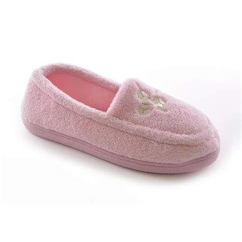 womens fleece slippers womens floral embroidered terry fleece moccasin