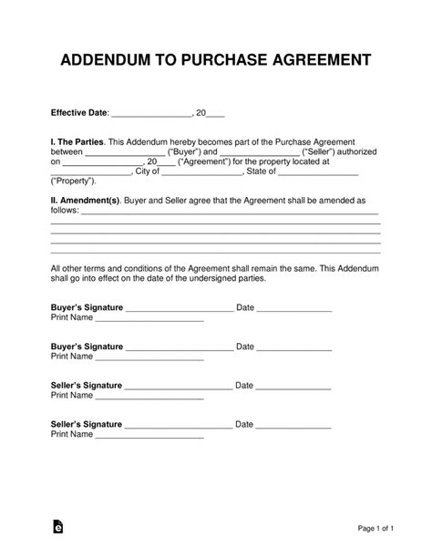 Free Purchase Agreement Addendums Disclosures Word Pdf Eforms Free Fillable Forms Free Addendum Sticker Template