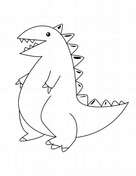 free coloring pages of cute anime dinosaur