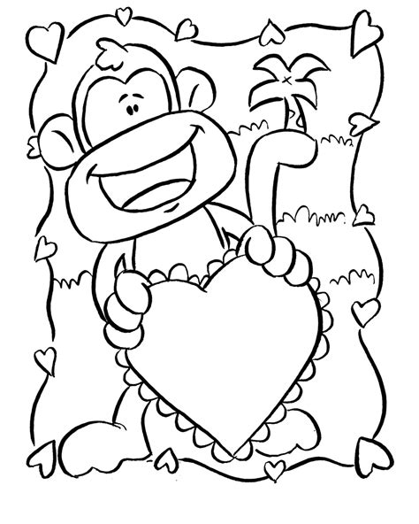 monkey valentine coloring pages monkey coloring pages monkey coloring page 15 free