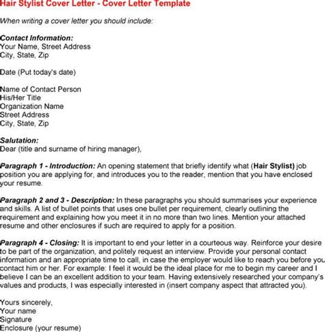cover letter for hairstylist stylists letter sle and hair on