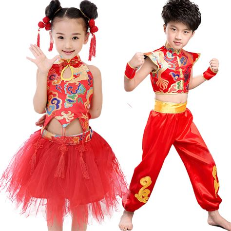 girls boys size 110 140 chinese new year dress clothes red