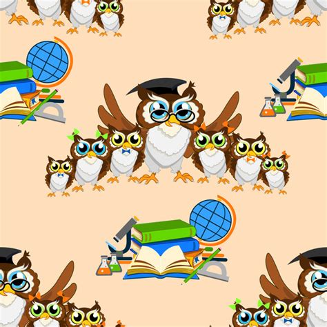 owl pattern vector free download cartoon owl and education seamless pattern vector vector
