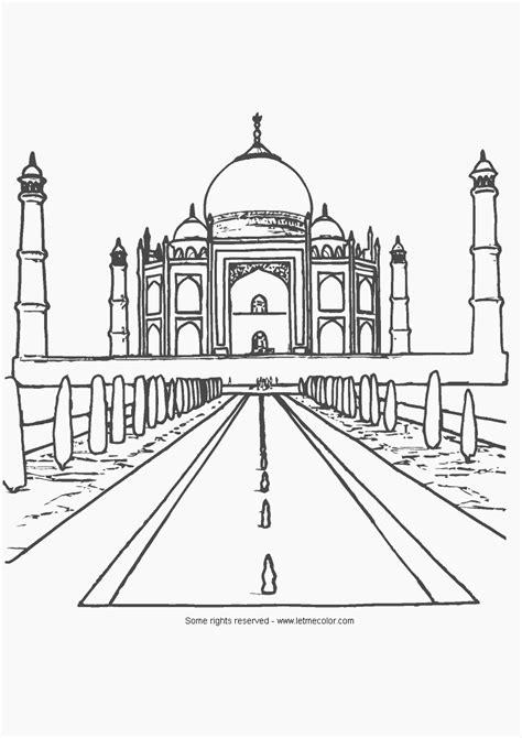 Free Taj Mahal Outline Coloring Pages Taj Mahal Coloring Page