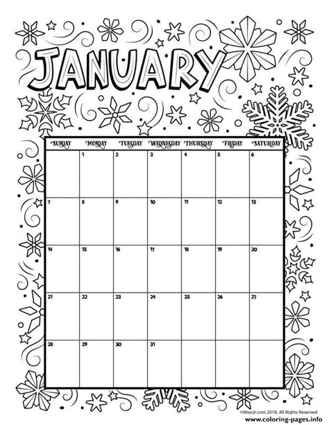 january color january coloring calendar 2019 coloring pages printable