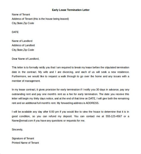 lease termination letter templates 23 free sle
