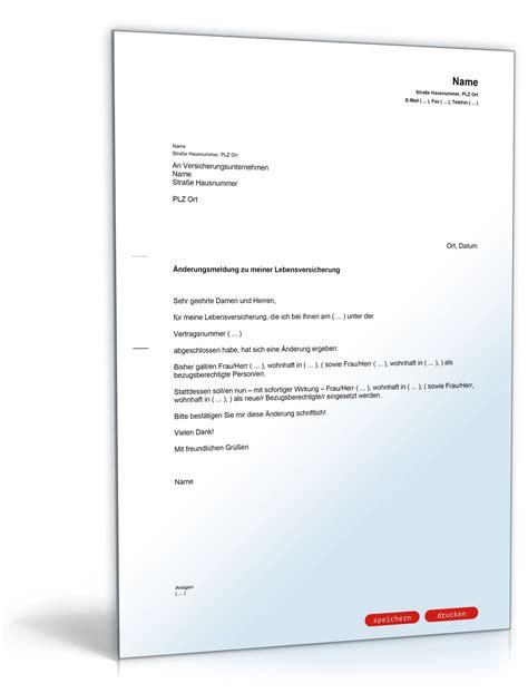 Vorlage Kündigung Der Lebensversicherung 196 nderung beg 252 nstigter lebensversicherung muster vorlage