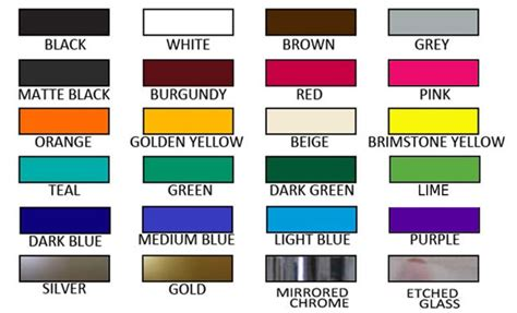 colours name colors name