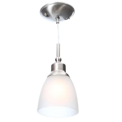 Commercial Electric Lighting Fixtures Commercial Electric 1 Light Brushed Nickel Mini Pendant With Frosted White Glass Shade 3 Pack