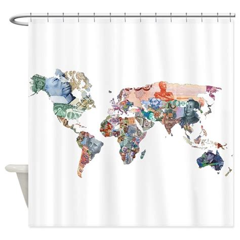 money shower curtain world money fiat currency map shower curtain by pondyr