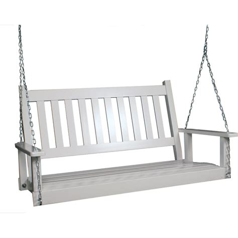 tree swings lowes shop garden treasures 2 seat wood traditional white swing